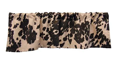 Valance Window Velvet - luvfabrics Velvet Suede Cow Print Kitchen Curtain Valance Treatment Plush Soft Made in USA (Chocolate, 16