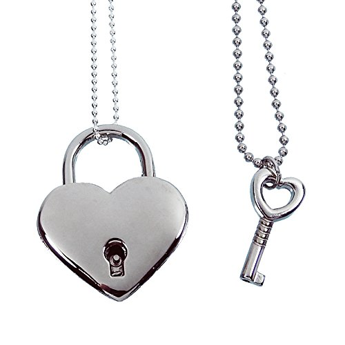 Baby Loves Pink Heart Lock and Key Couples Necklace - Real working Lock Pendant]()