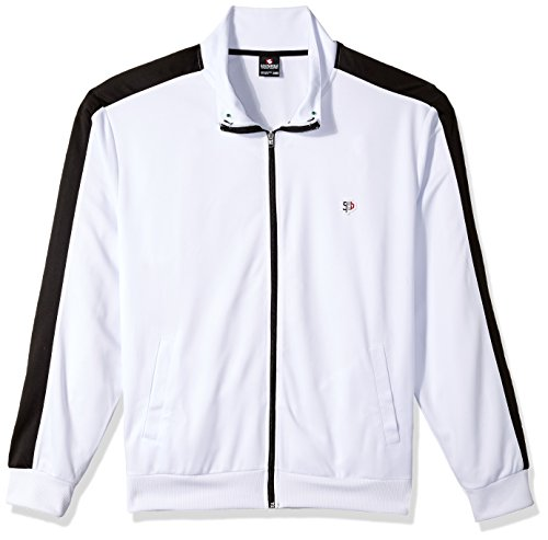 Southpole Men's Big and Tall Full-Zip Athletic Track Jacket, White, 5XB (Jackets Big Tall Mens)