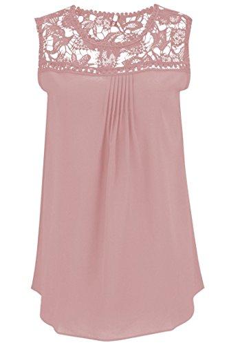 Manzocha Women's Lace Chiffon T Shirt Stitching Blouse Hollow Out Tops – Medium, Pink