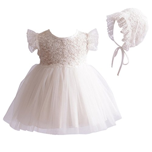 Baby Girls Lace Cap Sleeves Christening Baptism Gown Wedding Formal Tulle Dress with Floral Lace Bonnet Ivory Size ()