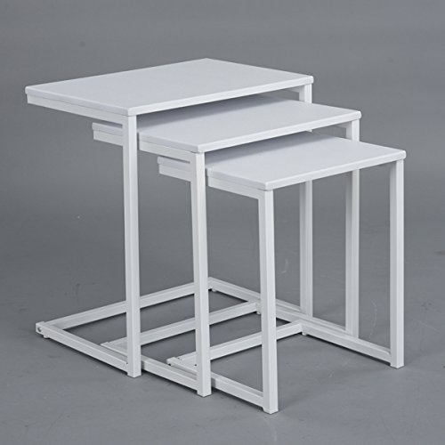 Set of 3 White Top and Metal Frame Nesting Side End Table