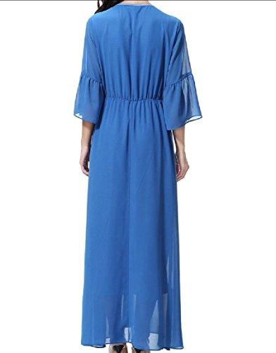 Style Sleeve Coolred Long Women Muslim Solid Chiffon Collar Lake 4 Dress 3 Blue Notch nXqxX4F