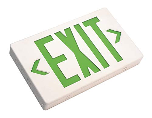 (NICOR Lighting LED Emergency Exit Sign, White with Green Lettering (EXL1-10-UNV-WH-G-2))