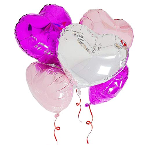 (AZOWA 30 Pcs Heart Balloons 18 inch Pink and Silver Heart Shaped Foil Mylar Balloons White and Black for Valentine's Bridal Shower Wedding Birthday Party Decorations)