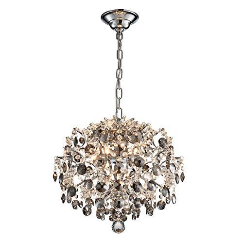 ANJIADENGSHI Modern Chandelier Crystal Spherical Lighting Ceiling Light Fixture Lamp for Dining Room Bathroom Bedroom Livingroom 5 G9 Bulbs,Smoky Gray (Ceiling Lighting Dining Room)