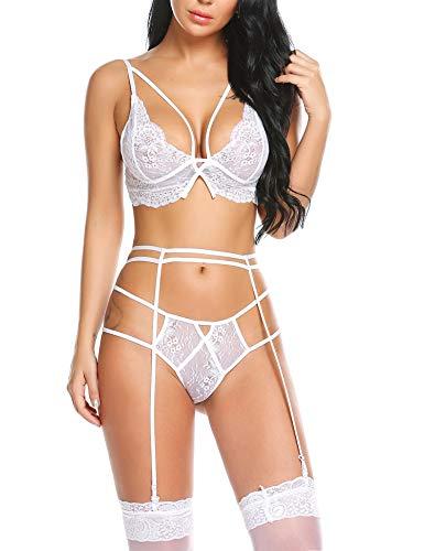 b176b77111b wearella Women Lace Lingerie Set Bra Garter Belt Strappy Bralette Set for  Valentines Day White XL