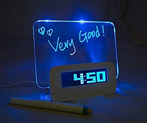 Digital Alarm Clock,AMZSTAR Luminous LED Fluorescent Message Board LCD Calendar with 4 Port Usband Battery Powered Night Light (Blue 1) (Fluorescent Alarm Clock)