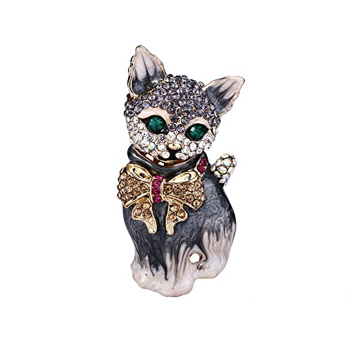 Cat Brooch - EVER FAITH Plump 3D Cat Pet Austrian Crystal Enamel Brooch Gold-Tone Grey