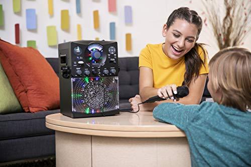 41mEujjPJzL - Singing Machine SML385UBK Bluetooth Karaoke System with LED Disco Lights, CD+G, USB, and Microphone, Black