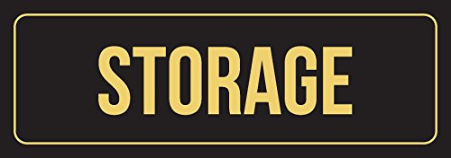 iCandy Combat Black Background with Gold Font Storage Office Business Retail Outdoor & Indoor Metal Wall Sign - 6 Pack, 3x9 Inch