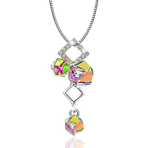 Austrian Crystal Swarovski Cube (OSIANA Ice Cube 18K White Gold Plated Fashion Pendant Necklace Made with Crystal 18