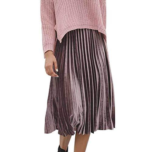 Creazrise Women's Vintage Luster Elastic Waist Velvet A-line Pleated Midi Skirt (Pink,L) -