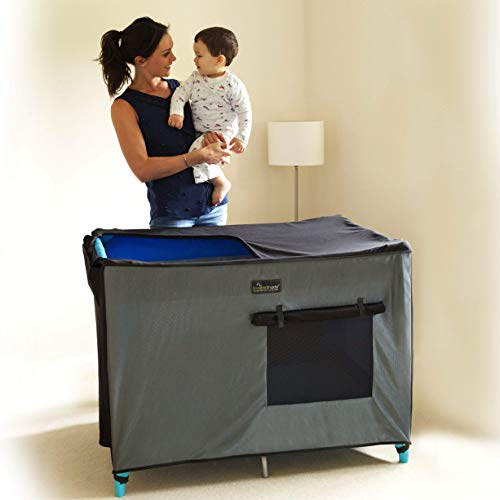 SnoozeShade Pack N Play Crib Canopy and Tent | Breathable Netting Sleep and Cover Shade | Award-Winning & Mom-Designed