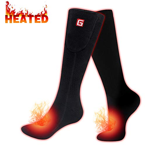 GLOBAL VASION Heated Scoks Winter Electric Rechargeable 3 Heating Settings Thermal Sock for Men and Women (BLACK, Large)