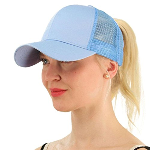 (Lavany Women's Hats,Baseball Caps Low Profile Ponytail Mesh Trucker Visor Hat Dad Hats (Sky Blue))