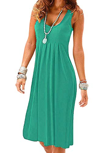 Camisunny Plain Solid Color Summer Dresses for Women Cool Casual Loose Beach Dress Cover Ups Size L Green