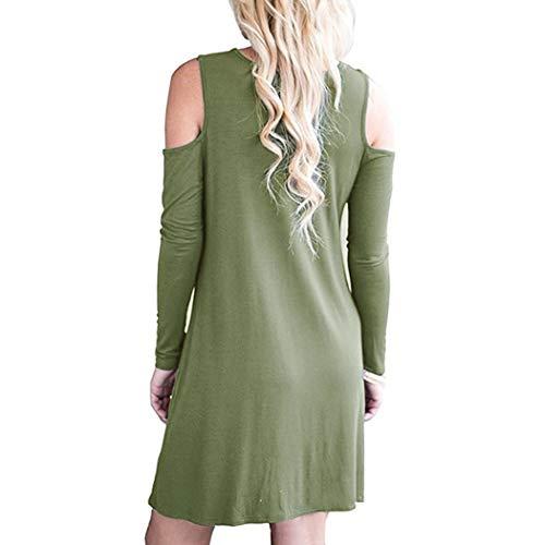 Verde Da Scoperte Vestiti Militare Donna Abito Puizza Spalle Con 6Yv7bgyf
