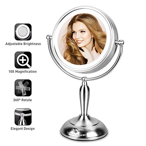 Lighted Makeup Mirror, 7.5 Inch Double-sided Vanity Mirror With Adjustable Natural LED Light, 1x/10x Magnifying Mirror With Stand, AC Adapter or Battery Operated, Cord or Cordless ()