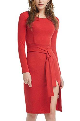 Elegante manga larga mujer corte Bodycon vestido con cinturón