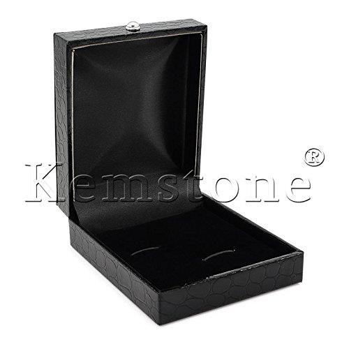 Kemstone Blue Cubic Zirconia Crystal Cufflinks Black Enamel Jewelry by Kemstone (Image #3)