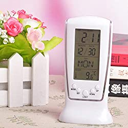 Wffo New Digital Backlight LED Display Table Alarm Clock, Snooze Thermometer Calendar (White)
