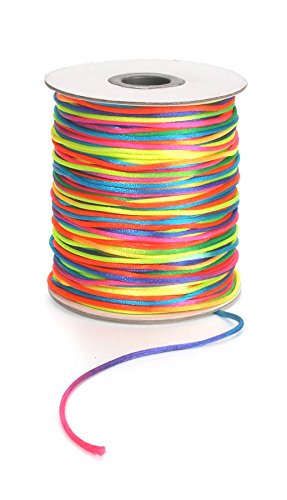 Darice 144 Yard, 2 Millimeter, Satin Rattail Cording, 2 mm, Rainbow