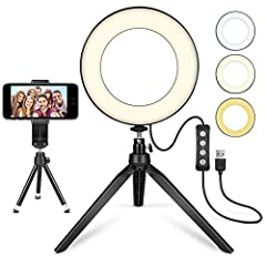 "3 Modes 6"" Ring Light the led light design with 11 adjustable brightness for your choose, meet all your needs in different circumstances. 3 light modes: white, warm yellow, warm yellow + white. It will come in handy whenever you need extra li..."