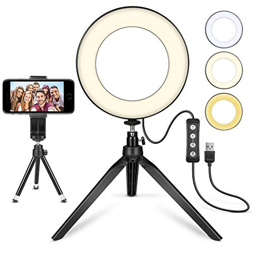 th Tripod Stand for YouTube Video and Makeup, Mini LED Camera Light with Cell Phone Holder Desktop LED Lamp with 3 Light Modes & 11 Brightness Level (6