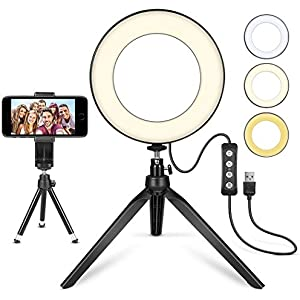 Uonlytech 6.2Inch Ring Light with Stand USB Dimmable LED Ring Light Kit 3200-6500K Color Temperature Lighting for Selfie Makeup YouTube Live Video Photo