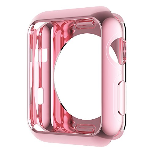 - Leotop Compatible with Apple Watch Case 44mm 40mm, Soft Flexible TPU Plated Protector Bumper Shiny Cover Lightweight Thin Guard Shockproof Frame Compatible for iWatch Series 4 (V1-Pink, 44mm)