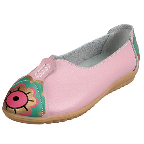Mordenmiss Mujeres New Printed Moccsins Stylish Loafer Flats Pink