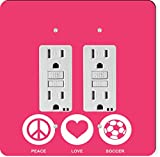 Rikki Knight 42773 Gfidouble Peace Love Soccer Tropical Pink Color Design Light Switch Plate
