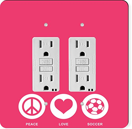 Rikki Knight 42773 Gfidouble Peace Love Soccer Tropical Pink Color Design Light Switch Plate by Rikki Knight