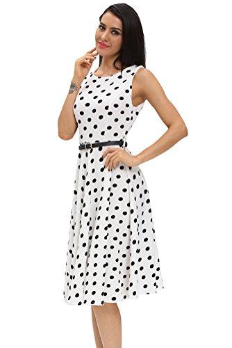 Sisiyer Women's Vantage Polka Dot Bohemian Print Dress Keyhole with Belt Multicolor1 Small