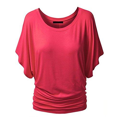 Casual Corail Tops iBaste Chauve Blouse Manches shirt souris Femme Nue Courtes t T paule wfpZ6q1