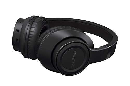 Creative Outlier Black Wireless Bluetooth Over-Ear Headphones, 13-Hour Playtime, High-Performance, Comfortable and Foldable Lightweight with Built-in Microphone and Music Control (Black)