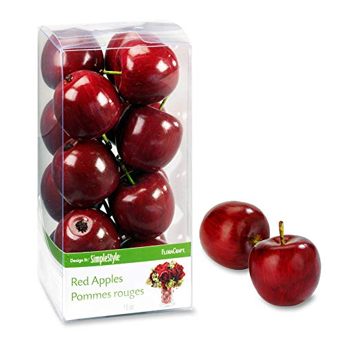 FloraCraft 15 Piece Decorative Mini Fruit Red Apple, -