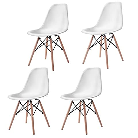 Giantex Set of 4 Mid Century Modern Style DSW Dining Chair Side Wood Leg (Plastic Chairs Set Of 4)