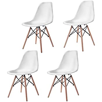 Giantex Set of 4 Mid Century Modern Style DSW Dining Chair Side Wood LegAmazon com  Set of 4 Eames Eiffel DSW Style Side Dining Chair  . Set Of 4 Replica Eames Eiffel Dsw Dining Chair White. Home Design Ideas