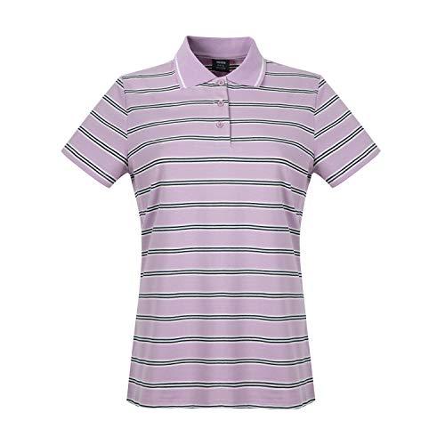 Women's Short Sleeve Work Polo Dri-Fit Striped Polo Purple XL ()