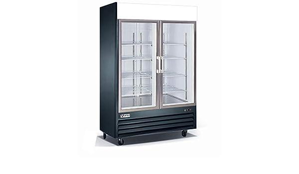 Refrigerador comercial Vortex con 2 puertas de cristal, color ...