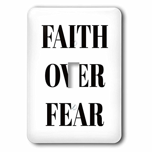 3dRose Xander inspirational quotes - Faith over fear, black letters on a white background - Light Switch Covers - single toggle switch (lsp_265911_1) by 3dRose