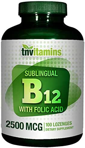 B-12 Sublingual 2500 Mcg with Folic Acid 400 Mcg by TNVitamins - 100 Tablets