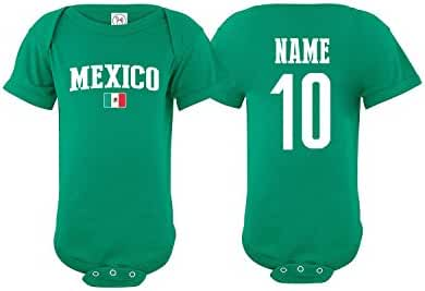 e4fdb121298 Amazon.com  Mexico Bodysuit Soccer Infant Baby Girls Boys Personalized  Customized Name and Number (T-Shirt 2T