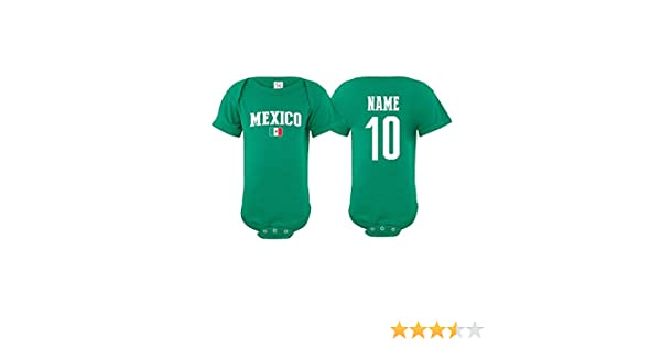 85192f4e49b Amazon.com  Mexico Bodysuit Soccer Infant Baby Girls Boys Personalized  Customized Name and Number (T-Shirt 2T