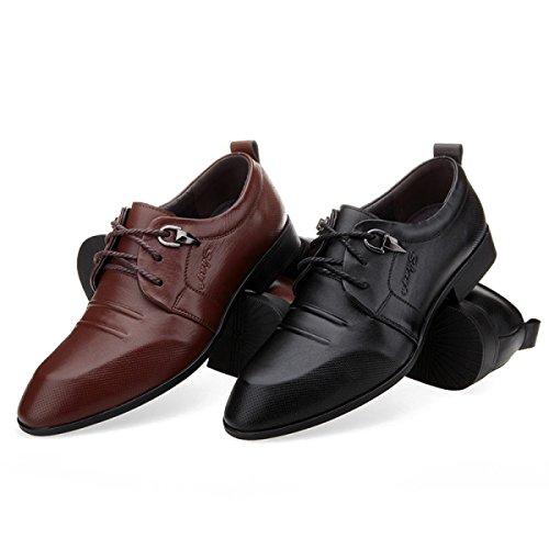 Homme En Noir De Loisirs Véritable GRRONG Cuir En Chaussures Brun Cuir Brown Pour Entreprise wHxRPnI5xq