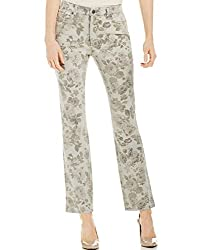 Charter Club Womens Floral Print Slimming Straight Leg Jeans Gray 4