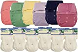 GroVia Hybrid Part Time Package: 6 Shells + 12 Organic Cotton Soaker Pads (Color Mix 4 - Hook & Loop)