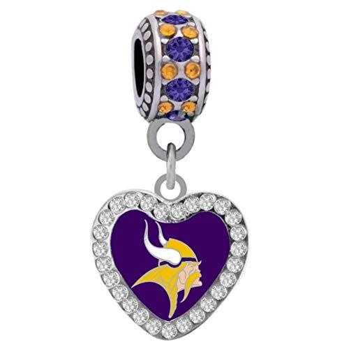 (Final Touch Gifts Minnesota Vikings Rhinestone Heart Charm Fits European Style Large Hole Bead)